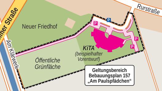 Geltungsbereich Bebauungsplan 157 und beispielhafter städtebaulicher Vorentwurf nach Plänen der Stadt Pulheim